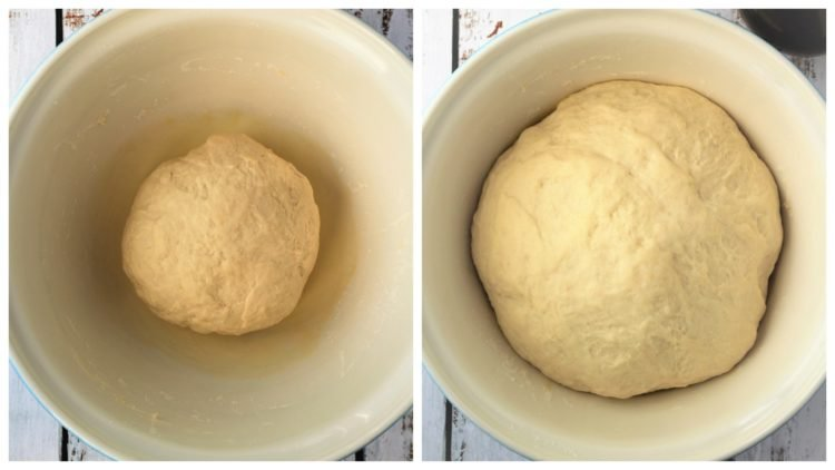 pizza dough in bowl before and after proofing