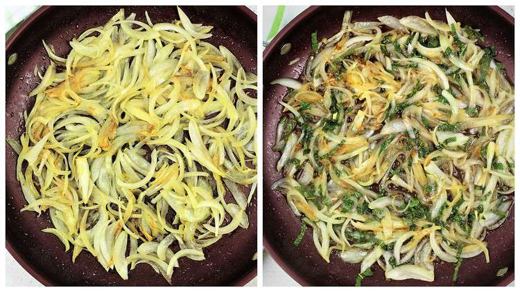 golden onions sautéed in large skillet with chopped mint added