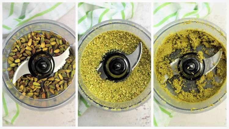 processing pistachios in food processor to make pistachio paste