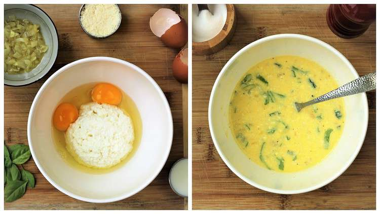 mixed ricotta, eggs, cheese, onion and basil in bowl