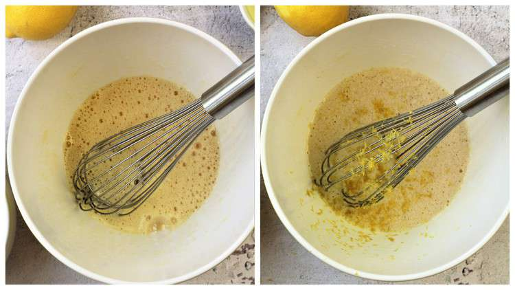 bowls with mixed eggs, sugar and oil with whisk