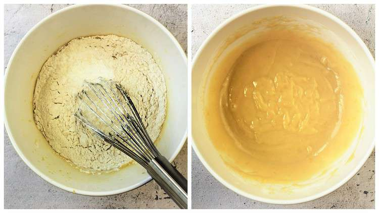 mixing bowl with flour added to egg mixture and whisked