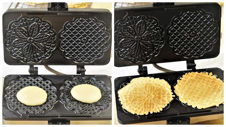 adding batter to a pizzelle iron