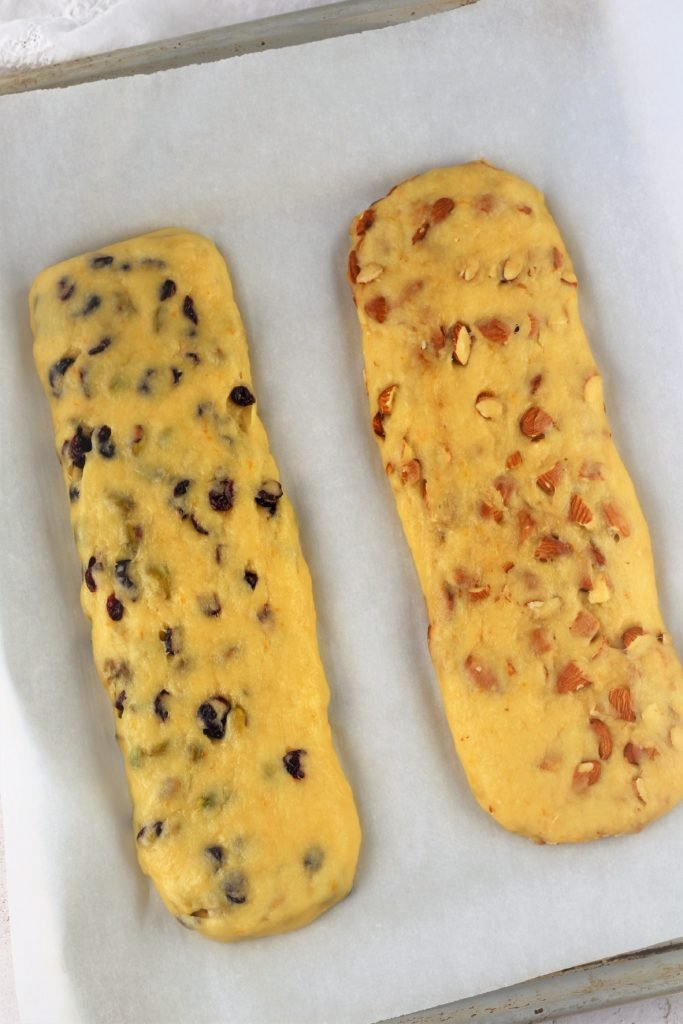 biscotti logs on baking sheet Classic Almond Biscotti with Variations