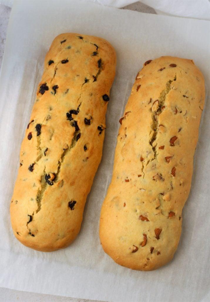 baked biscotti logs on baking sheet