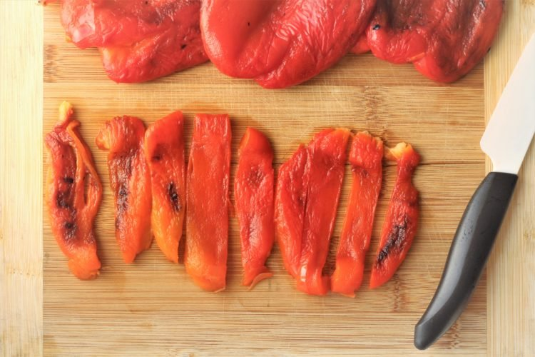 roasted red bell pepper flesh cut into strips