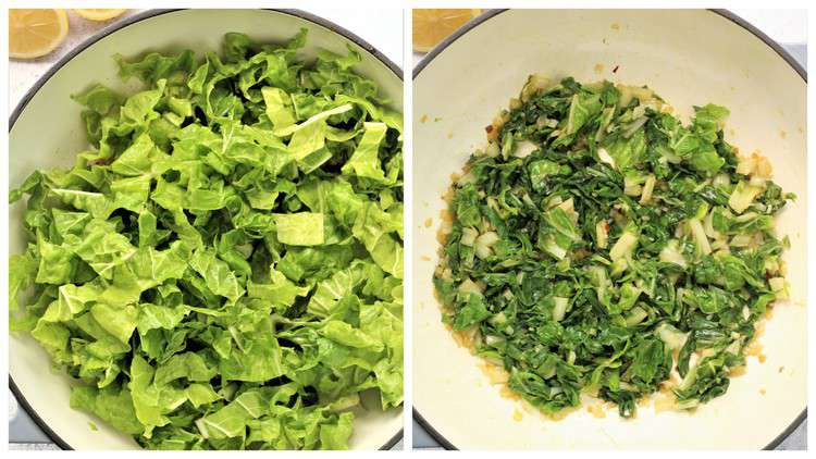 swiss chard wilted in skillet before and after