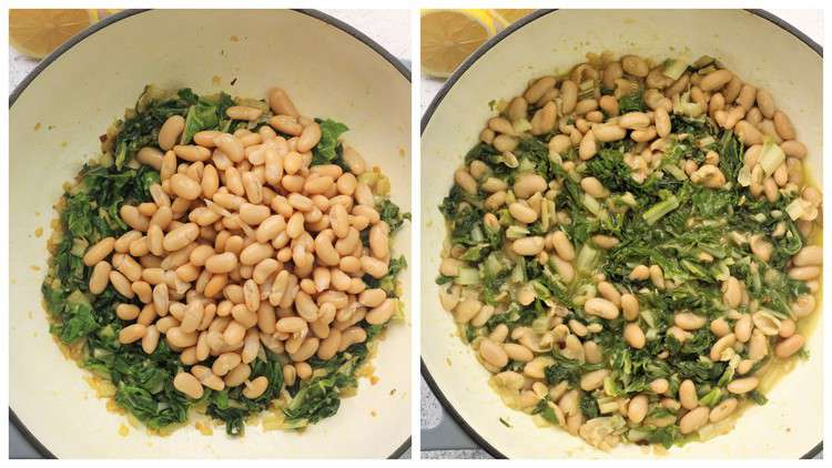 white beans added to swiss chard in skillet