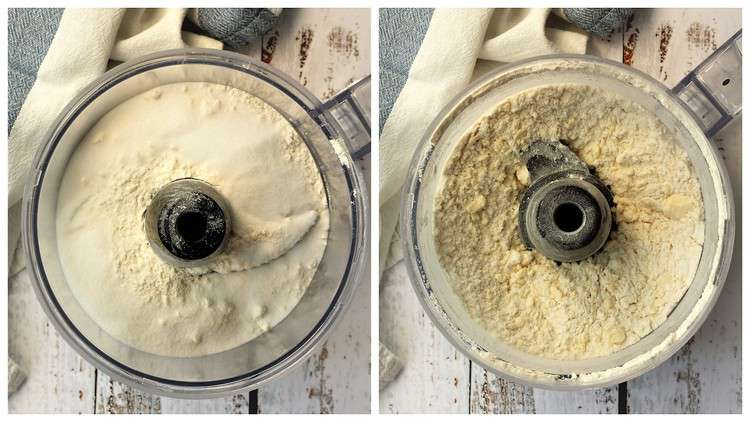 pulsed flour sugar and butter in food processor