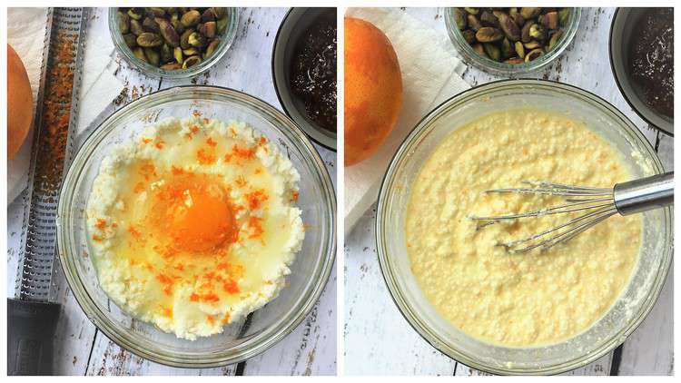 combined ricotta, egg, sugar and orange zest in bowl for pie filling