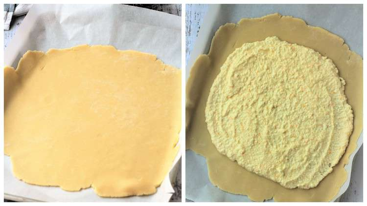 rolled pie dough on baking sheet topped with ricotta cream