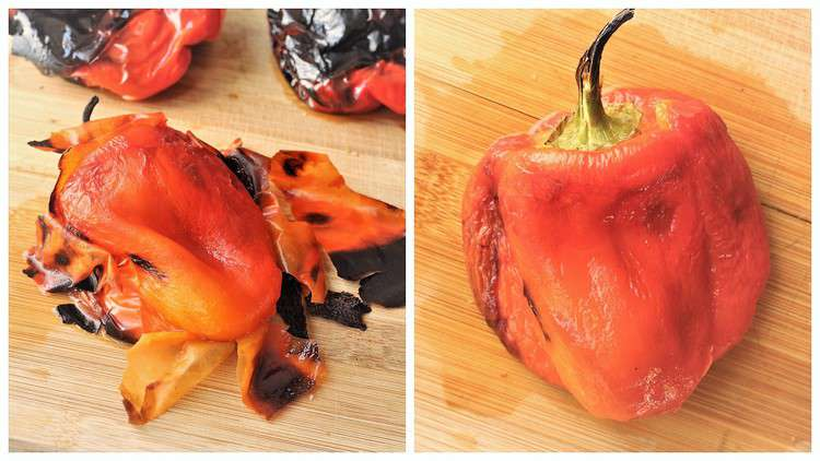charred skin peeled from roasted red pepper