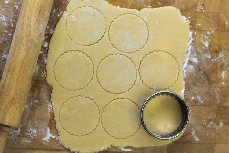 rolled pastry cut into circles with cookie cutter