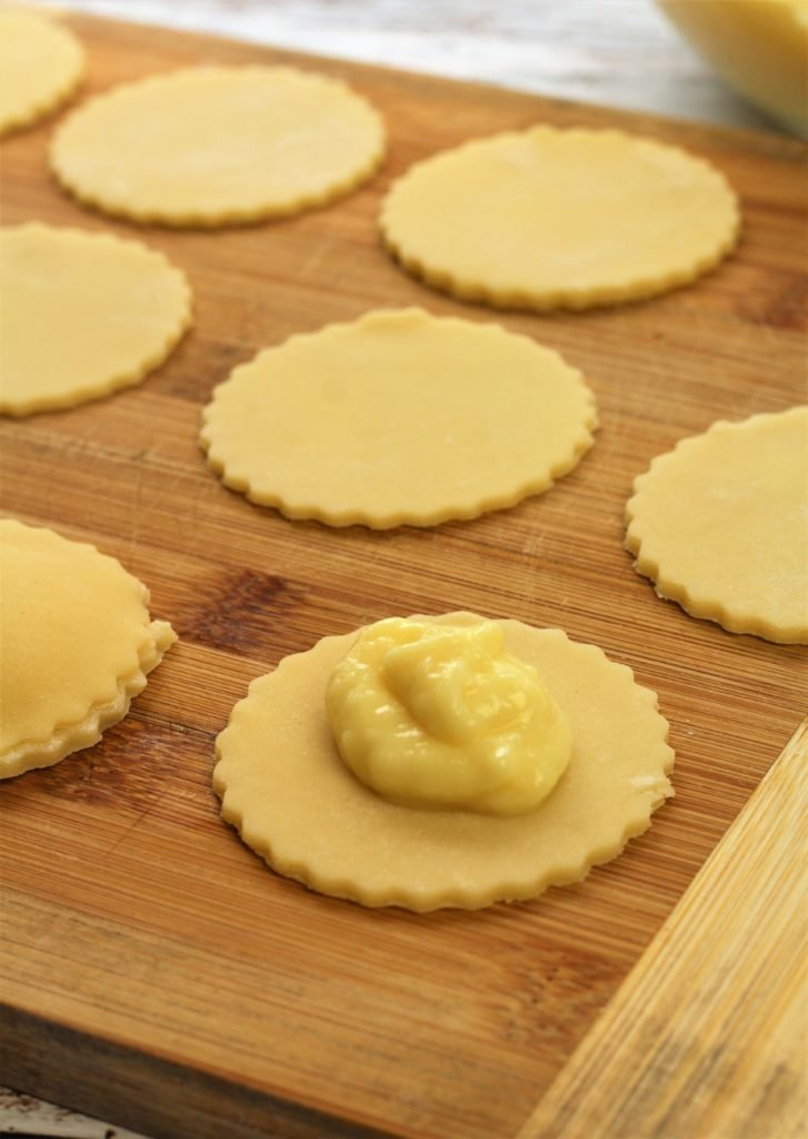 round pastry circles topped with dollop of pastry cream