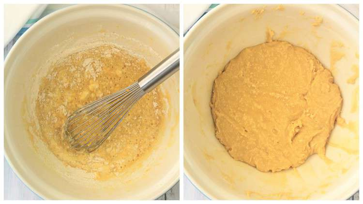 cake batter in large bowl with whisk
