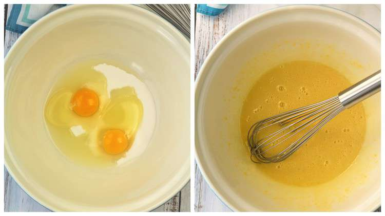 whisked eggs and sugar in bowl with whisk