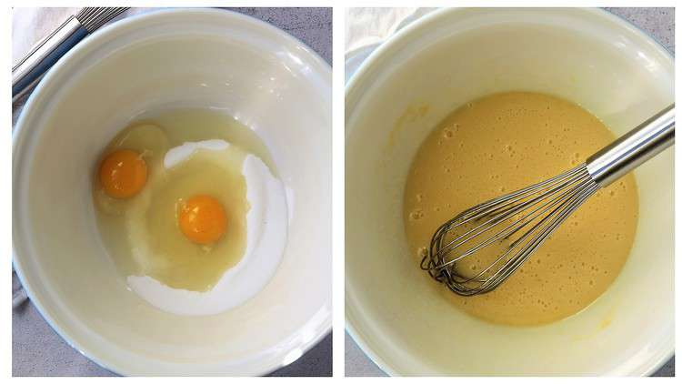 before and after eggs and sugar whisked in large mixing bowl