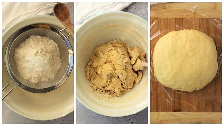 sifted flour added to large bowl and stirred to shape into dough