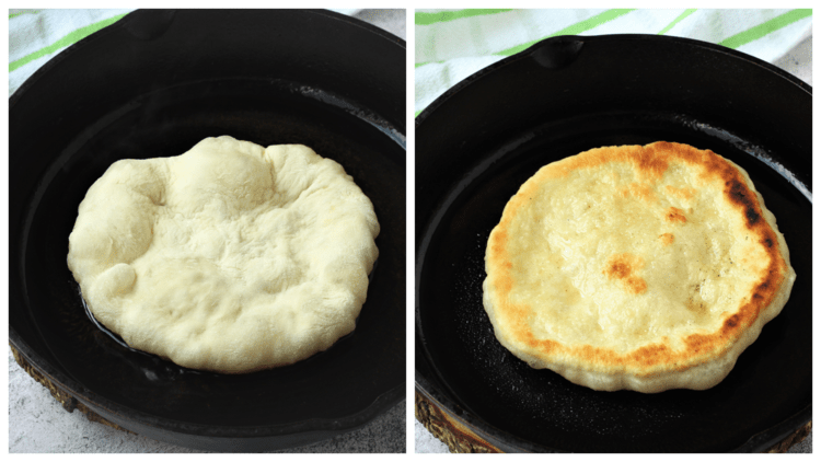 pizza dough fried in cast iron skillet
