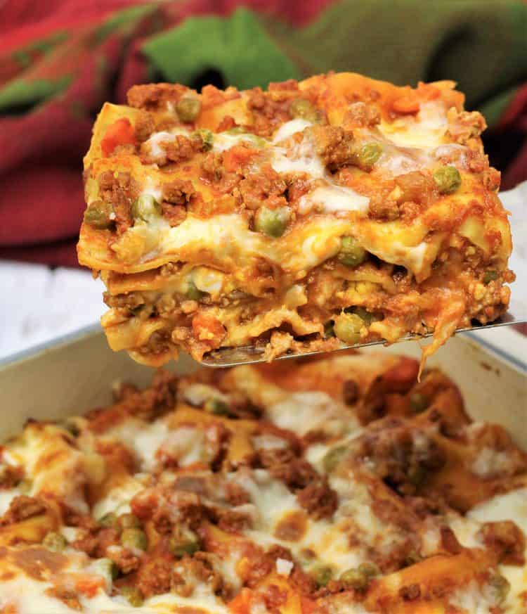 slice of Sicilian lasagna on spatula
