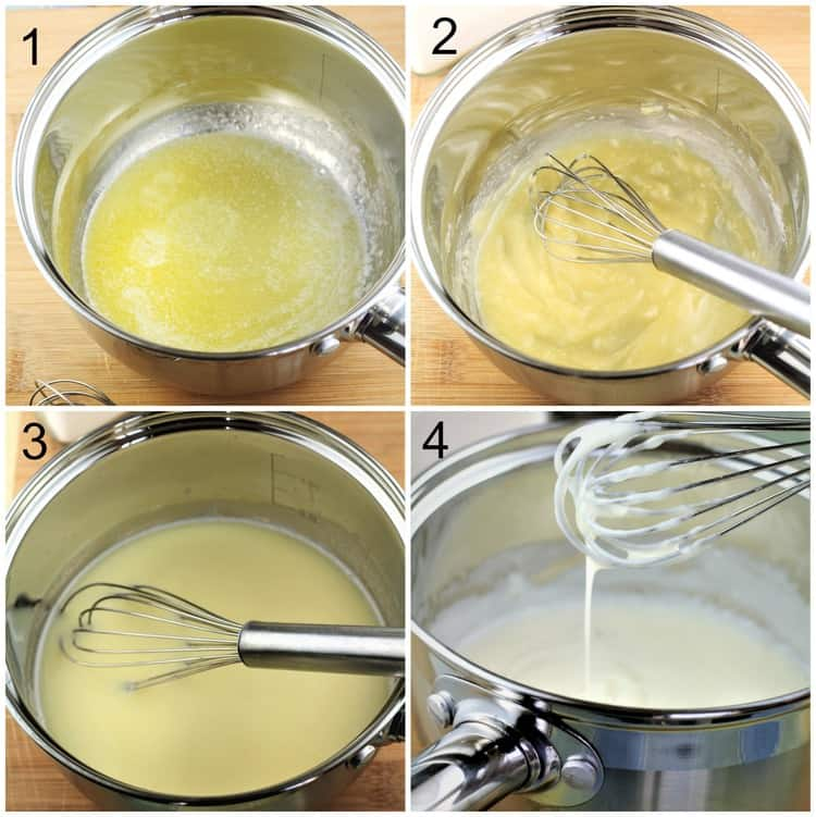 step by step images on how to make bechamel sauce in sauce pan with whisk