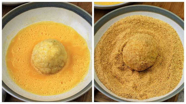 bowl with egg wash and bowl with breadcrumbs for dredging arancini